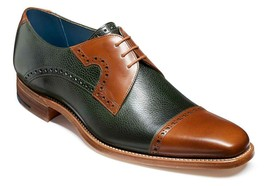 Men's Two Tone Oxford Green Brown Derby Cap Toe Premium Quality Leather ... - $139.99+
