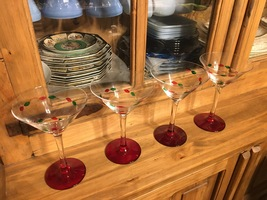 Gorham Crystal Christmas Jewels (Red Foot) Martini Glasses (set of 4) - $52.00