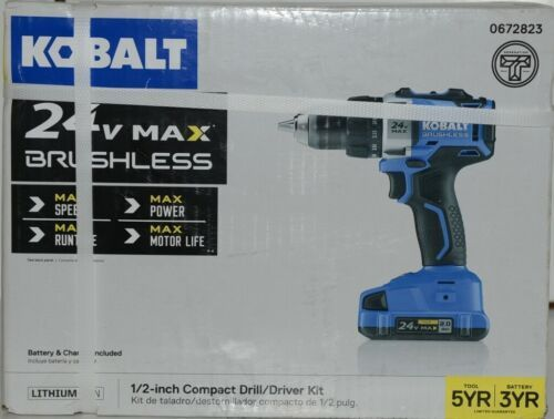Kobalt 0672823 24v Max Brushless Compact Drill Driver Kit Cordless New in Box