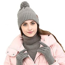 Womens Beanie Winter Hat Scarf Set Slouchy Warm Knit Skull Cap Gray - $16.91