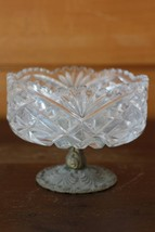 Bohemia Crystal QUEEN LACE Hand Cut Footed in Bronce Centerpiece Bowl - $160.82