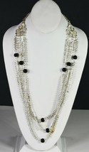 "30"" Vintage Collar Silver Tone Ornate Necklace Indian 3 Strings Asian Folk Art - $18.99"