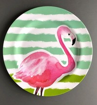 "Flamingo Tropical Melamine Dinner Plates 10.5""  set of 4 Summer Beach Ho... - $37.50"