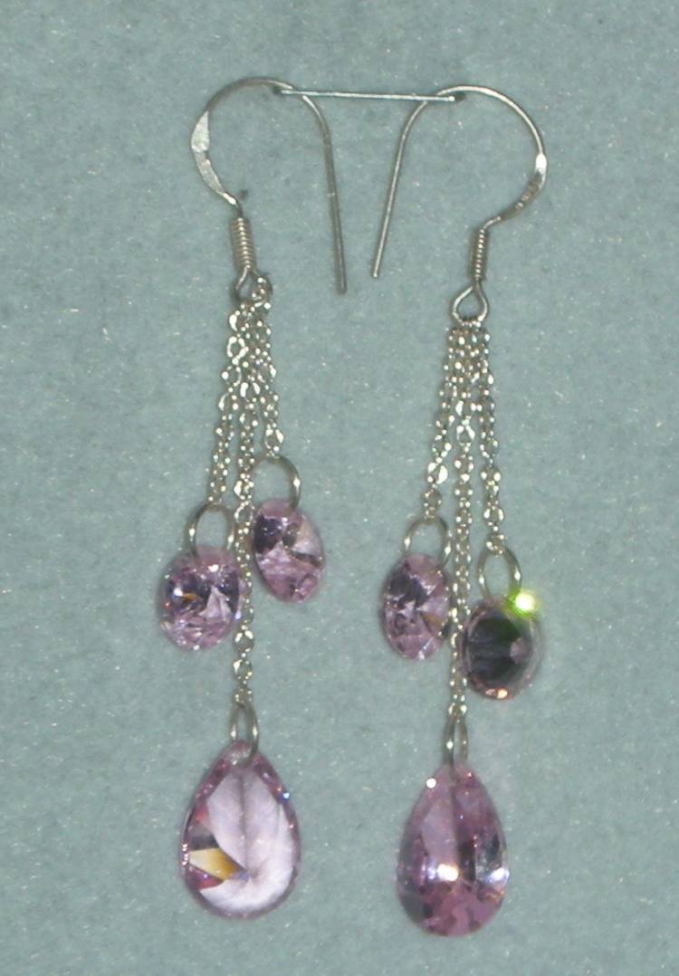 STERLING SILVER STUNNING 13CTW PINK TOPAZ EARRINGS