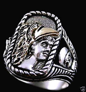 Alexander the Great 10 Karat gold Helmet ring ster sil