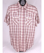 Vtg DEE CEE BRAND Shirt-L-Western-Brown Plaid-Double Snap Button Pockets - $37.39