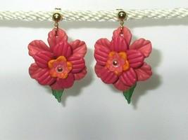 Big Dark Pink Tropical Flower Earrings with leaf dangle Hawaiian 3-D  HM - $9.00