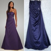 Davids Bridal Satin Bridesmaid Gown Dress Purple Side Ruched  F44079 Wom... - $55.43