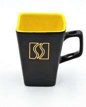 Disaronno Italian Liqueur Black Yellow Square Tall Mug Spoon Holder Hand... - $12.95