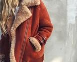 New orange faux suede beige shearling warm aviator coat winter pilot jacket - $130.24