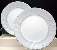"Mikasa Prelude Salad Plates 8"" Set of 2 White Gray Swirls Platinum L9713 - $14.44"