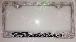 For Cadillac Stainless Bling license plate frame Made with Swarovski Crystals - $79.19