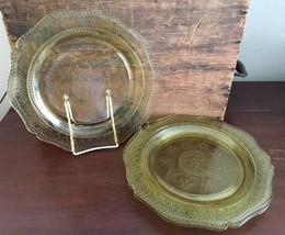 Federal Glass Patrician Amber 11 inch Dinner Plate Set of 4 Lot 8 - $34.99