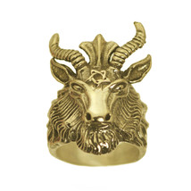 New Satan Goat Baphomet occult Pentagram Devil 10K Yellow Gold Ring Jewelry - $1,599.99