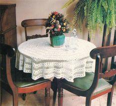 4X Wagon Wheel Lace Rosettes Leaf Flower Tablecloth Crochet Pattern image 3