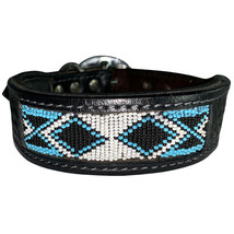 Small Heavy Duty Handmade Genuine Leather Beaded Hand Tooled Dog Collar U-06-S - $21.03