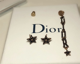 Authentic Christian Dior Star Black Grey Crystal DIOR Dangle Drop EARRINGS  image 6