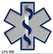 Blue Star of Life Lapel Pin EMT EMS Cloisonne Insignia Silver Plated 109... - $16.63