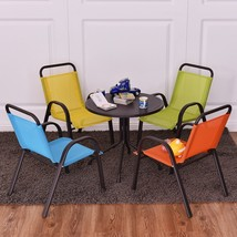 Kids Dining Bistro Set indoor Outdoor Patio Table Chairs 5 Pcs Backyard ... - $98.88
