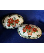 Mikasa Christmas poinsettia themed candy dishes, ovals with lids Christm... - $14.84
