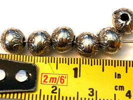 ORNATE ROUND FINE PEWTER BEAD - 7x7x7mm Hole 2mm image 3