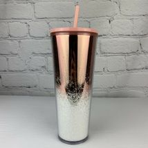 Starbucks Holiday 2019 Tumbler Cascading Snow Glitter Rose Gold Coffee Cup NEW image 4