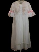 Vintage Chiffon Peignoir Robe Nightgown Sheer Negligee Set Womens S M Ro... - $158.39