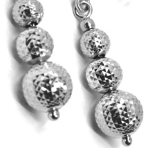 18K WHITE GOLD PENDANT EARRINGS WORKED SPHERES 5-6-8 MM DIAMOND CUT, FACETED image 2