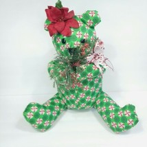 "Green Peppermint Candy Cane Christmas Teddy Bear Handmade 16"" Poinsettia Red  - $29.69"