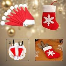 Navidad Portacubiertos Bolsa Mini Santa Hats Calcetines Cuchara Tenedor ... - $6.23+