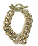 "Victoria's Secret Angel Gold tone Pave Rhinestone Link Toggle Bracelet 7.5"" - $15.47"
