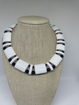Vintage Monet Signed White And Navy Blue Necklace - $49.49