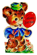 Vintage 40s Hallmark Baby Bear Lollipop Happy Birthday Kids Greeting Card - $7.69