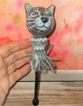 CAT HEAD Stick Decoration polymer clay ooak handmade unique black tabby ... - $6.92