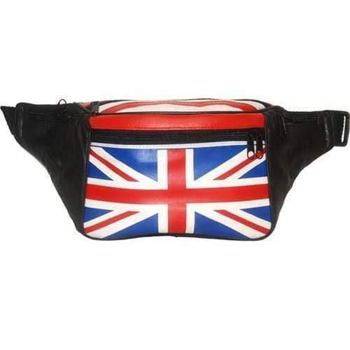 Genuine Leather Britain UK Flag Waist Pouch, Fanny Pack, Unisex Design 966 (C) - $10.99