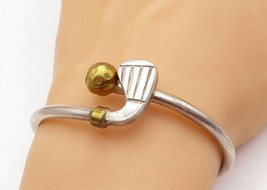 MEXICO 925 Silver - Vintage Two Tone Golf Club Bypass Cuff Bracelet - B7214 - $110.52