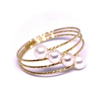18K ROSE GOLD MAGICWIRE BAND RING, ELASTIC WORKED MULTI WIRES, DIAGONAL PEARLS image 1
