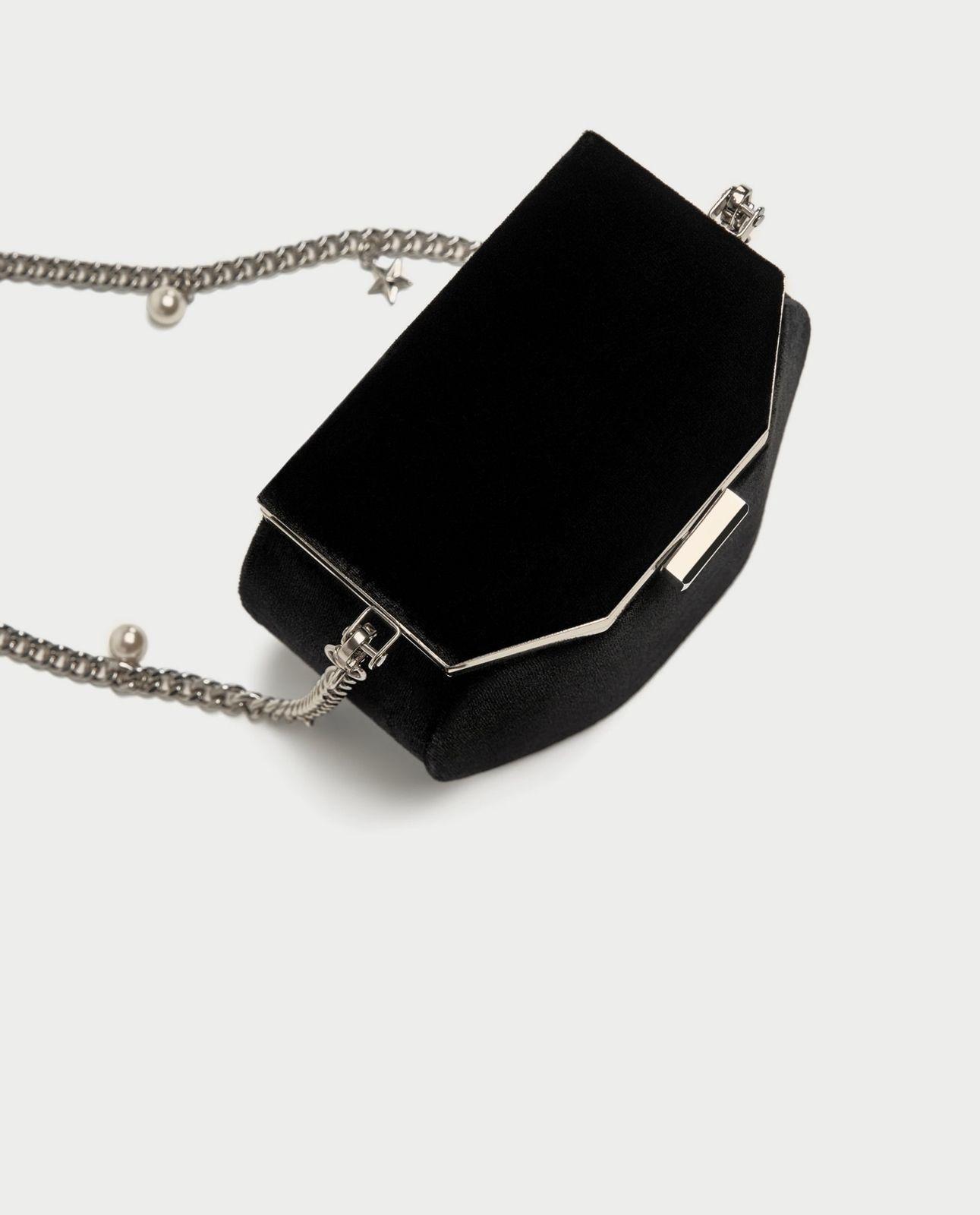 7370e34be04 BNWT ZARA Black Crossbody Bag With Clasp And Charm Strap REF.8377/204