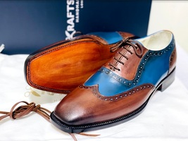 Handmade Men's Brown & Blue Wing Tip Brogues Lace Up Dress/Formal Oxford Shoes image 3