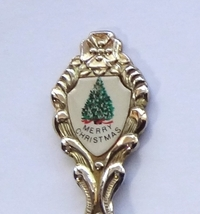 Collector Souvenir Spoon Merry Christmas Tree Porcelain Emblem - $4.99