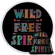 Black Background Wild Free Spirit Beach Towel - $12.32+