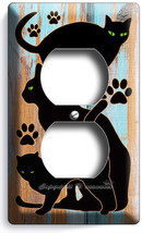 CUTE GREEN EYES BLACK CATS RUSTIC PAINT WOOD OUTLET WALL PLATES ROOM HOM... - $9.99