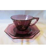 Vintage Moroccan Amethyst Cup & Saucer, Hazel Ware / Hazel Atlas - 1960s - $10.00