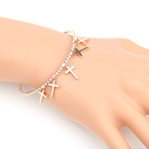 UE- Designer Rose Tone Bangle Bracelet With Swarovski Style Crystals & Crosses - $19.99