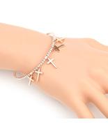 UE- Designer Rose Tone Bangle Bracelet With Swarovski Style Crystals & C... - $19.99