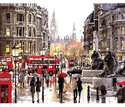 Paint By Numbers Kit London Rainy Day 40CMx50CM Canvas - $13.86