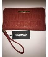Steve Madden Wallet Persimmon Stamped Logo Gold Zipper Org. Wristlet Shi... - $37.99