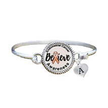 Custom Endometrial Cancer Awareness Believe Silver Bracelet Jewelry Initial - $13.80+