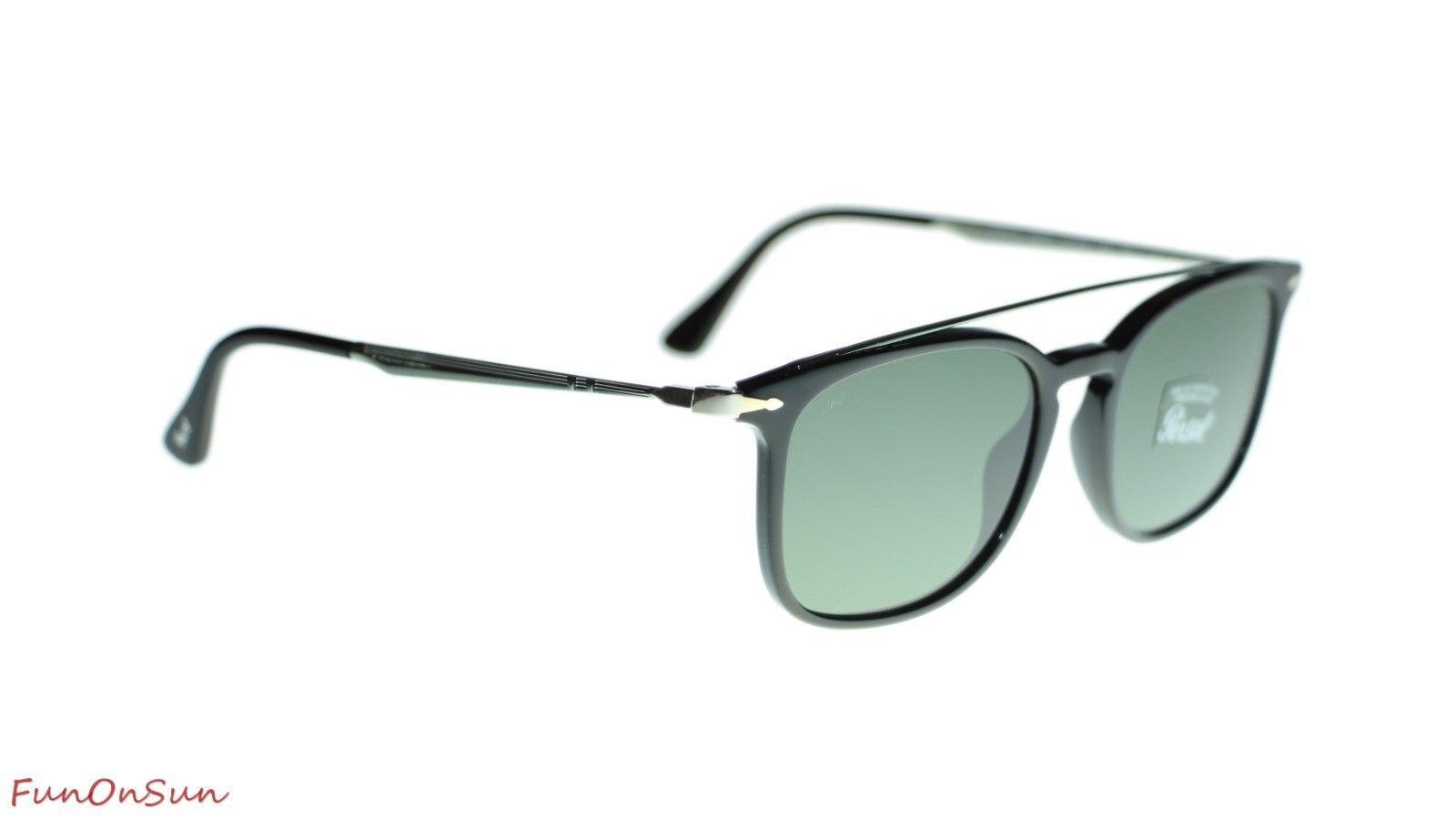 9df295c37c898 Persol Mens Rectangle Sunglasses PO3173S 9531 Black Green Lens 54mm