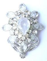 Vintage Large Prong-Set Rhinestone & Cut Glass Flower Pendant - $47.50